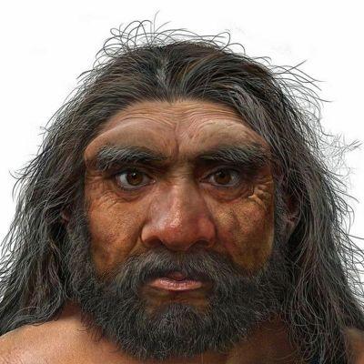 Kasvokuva miehestä, jolla on pitkät harmaantuneet hiukset, parta ja tuuheat kulmakavat, joiden alta katsovat tiukasti ruskeat silmät.