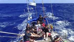 Sju kvinnor ombord på en segelbåt ute på öppet hav. Ganska blåsigt. Soligt. Ser varmt ut. Kvinnorna klädda i t-skjortor.