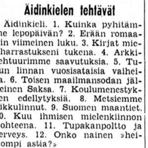 Ylioppilaskirjoitusten äidinkielen tehtävät 1964