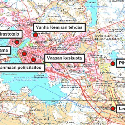 Vaasan kartta, johon on merkitty puolustusvoimien toimintakohteita harjoituksen aikana