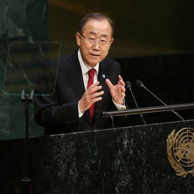 Ban Ki-moon YK:n puhujapöntössä