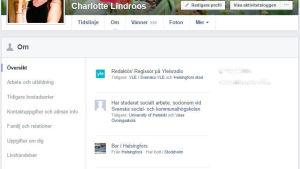 Skärmdump på inställningar för personlig information på Facebook.
