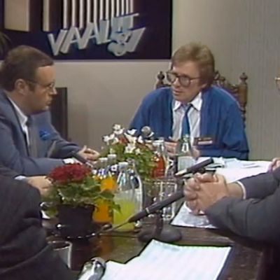 Vaalitulosilta 1987: Jorma Meller, Ilkka Suominen, Hannu Lehtilä, Kalevi Sorsa, Esko Helle