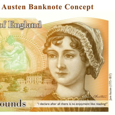 Kuvassa uusi kymmenen punnan seteli, jossa on kirjailija Jane Austenin kuva.