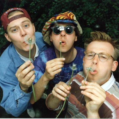 Radiomafian Heinähässäkkä-ohjelman Pertti Salovaara, Jusu Lounela ja Mikael Hästbacka 1995.