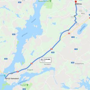 En karta över en cykelrutt från Billnäs till Yle Västnylands redaktion i Ekenäs.