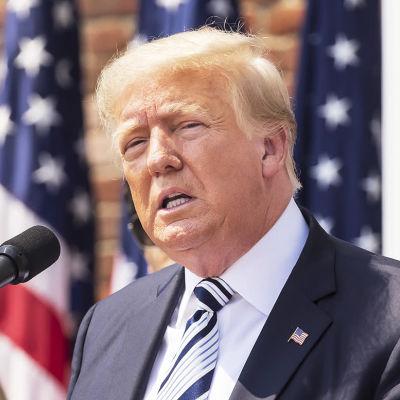 Donald Trump i en talarstol på en presskonferens utomhus.