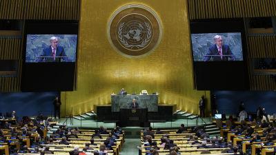 Fn:S generalförsamling öppnades. Delegater är på plats i New York och över videolänk-