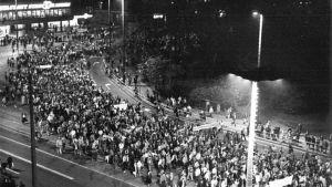 Måndagsdemonstration i Leipzig i oktober 1989.