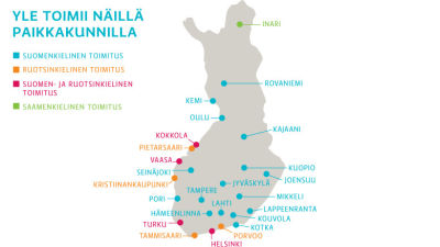 Ylen toimituksen alueilla. aluetoimitukset, paikkakunnat