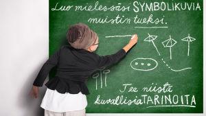 Oivi-oppija hahmo piirtää taululle