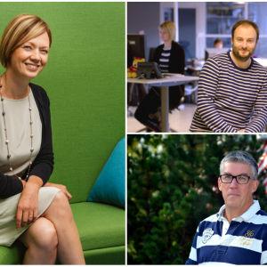 Marit af Björkesten, Niklas Nyberg och Tommy Westerlund i ett kollage.