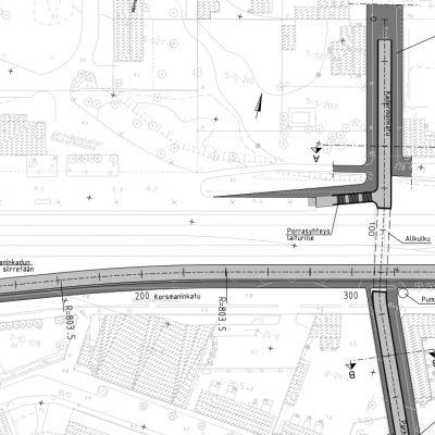 En karta över järnvägstunneln som planeras i Hangö
