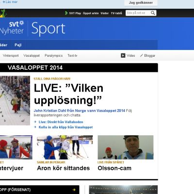 Vasaloppet på SVT.se den 3 mars 2014.