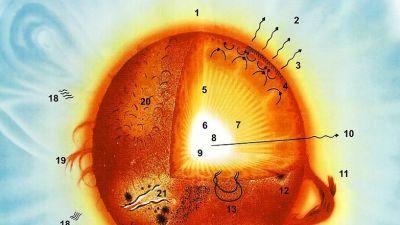 Bild som beskriver vilka beståndsdelar en sol består av.