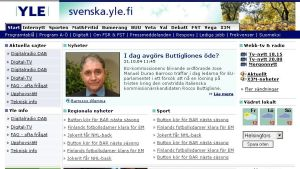 Skärmdumpar av svenska.yle.fi 2004