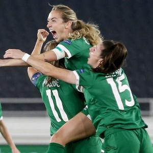 Irland jublar efter mål i VM-kvalet mot Finland.