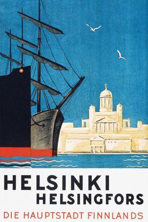 Ett segelfartyg står förtöjt vid kajen, Helsingfors domkyrka i bakgrunden.
