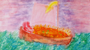 En bild målad med akvareller och eller tusch. På bilden synns en båt i granna färger ovanpå ett grönblått hav. Himlen i bakgrunden är lila och ljusröd.