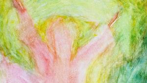 Bilden är en målning i ljusa färger. Den är ganska abstrakt, men man kan urskilja en kvinna i ljusröd klänning som dansar.