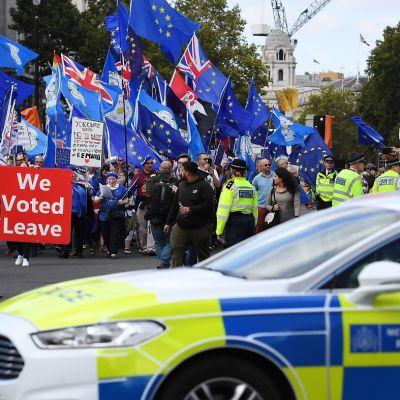 Brexit on jo vuosia ollut kuuma puheenaihe Britanniassa eikä loppua ole näkyvissä. Lontoo, syyskuu 2019.