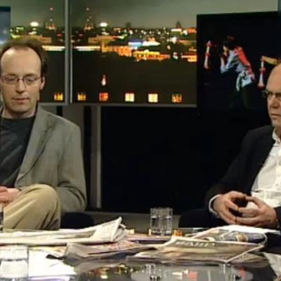 Jussi Halla-aho ja Leif Salmén Pressiklubissa vuonna 2009.