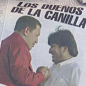 Hugo Chavez ja Evo Morales lehden kannessa. Yle kuvanauhalta