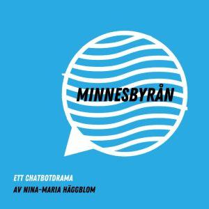 Randig pratbubbla med blå bakgrund, PR-bild för Minnesbyråns föreställning under Hangö Teaterträff 2020