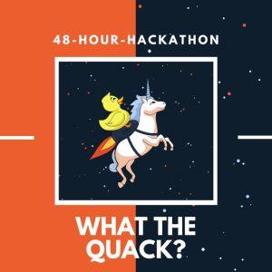 """På bilden står det """"48-hour-hackathon"""" och """"what the quack?"""". I mitten finns en illustration av en enhörning som flyger med en badanka på ryggen."""
