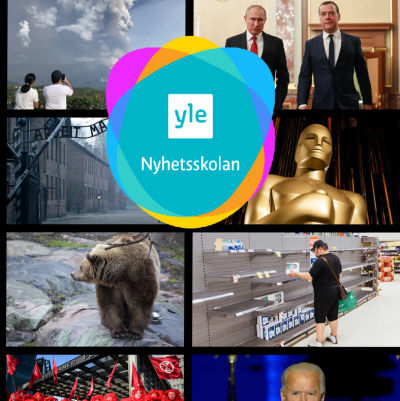 Bilder från Svenska Yle Nyhetsskolans nyhetsquiz från året 2020