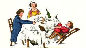 Tecknad bild på sagofiguren Drummelpetter, eller Pelle Snusk, som sitter vid ett matbord och vickar på stolen och drar i bordduken.