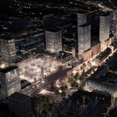 Havainnekuva Tampereen rautatieaseman seudusta vuonna 2035.