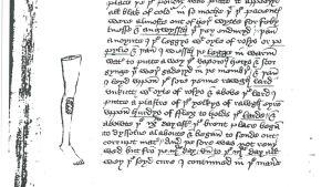 Piirustus jalasta keskiaikaisessa lääketieteellisessä englantilaisessa kirjoituksessa.