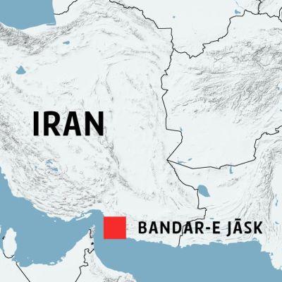 Staden Bandar-e Jāsk i Iran utprickad på en karta.