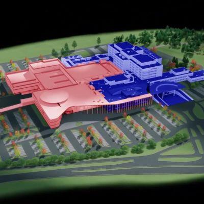 Lapin keskussairaalan laajennus (mukana ei ole pysäköintitaloa). Kuvakaappaus Youtube-videosta.