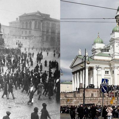 Vasemmalla kuvassa Senaatintori vuonna 1917, kuvassa mahdollisesti maaliskuun Venäjän vallankumoukseen liittyvää liikehdintää. Oikealla Senaatintorin Tuomiokirkko vuonna 2017, ihmisiä kerääntyneenä kirkon portaille.