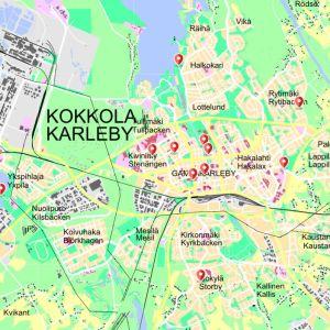 Kokkolan ketterien kesäkioskien paikat kartalla