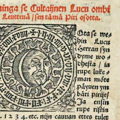 Piirroskuva Kuusta ja fraktuuralla painettua tekstiä