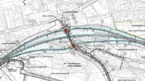 Karta över vägarbeten vid Tynnismalmen.
