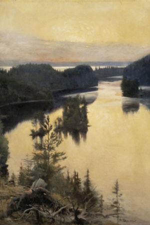 Edelfelts målning, Solnedgång över Kaukola ås.