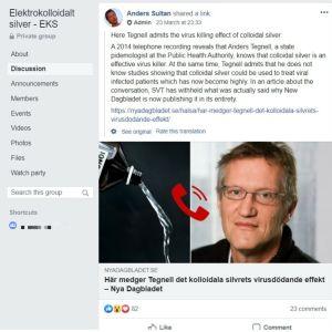 """Anders Sultan delar artikel i Facebookgruppen Elektrokolloidalt silver EKS där ett gammalt samtal till Anders Tegnell används för att """"bevisa"""" att kolloidalt silver dödar virus."""