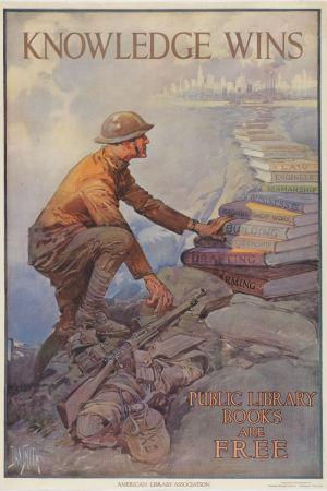 julkisen kirjaston puolesta tehty propagandajuliste, jossa brittisotilas kiipeää kirjapinoa pitkin sivistyksen pariin