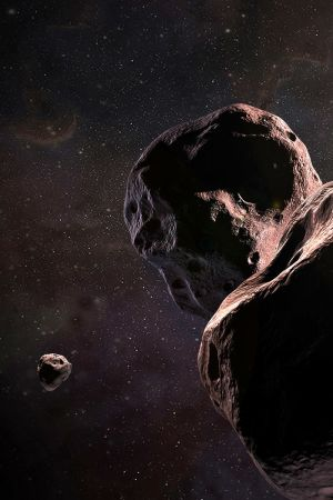 Asteroiden 2014 MU69 och New Horizons-rymdsonden.