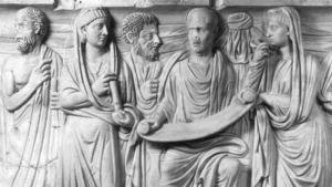 Konstverk på filosofen Plotinos med följare