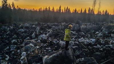 Brandman övervakar skogsbrand.