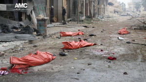 Dödsoffer i liksäckar i östra Aleppo 30.11.2016