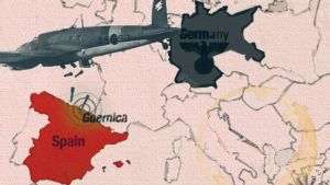 Piirretty karttakuva Guernican pommituksesta