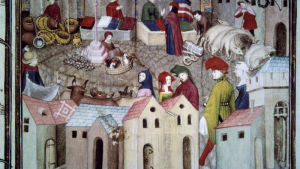 Keskiaikainen tori. Thomas III de Salucesín maalaus 1400-luvulta.