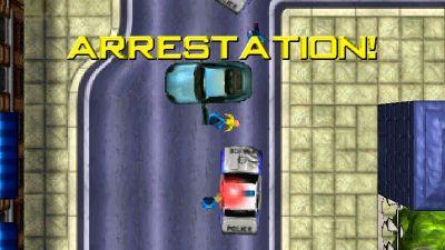 En gamma datoranimerad bild på två polisbilar som stannat en personbil.