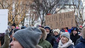 Protester i Reykjavik.